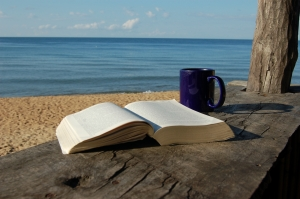 beach book coffee mug