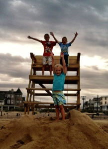 Kids on lifeguard stand Aug 2013