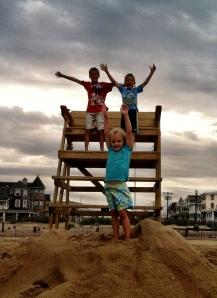 Kids on lifeguard stand Aug 2013